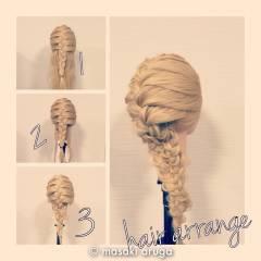 ヘアアレンジ ロング 三つ編み 結婚式 ヘアスタイルや髪型の写真・画像