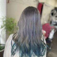 ガーリー セミロング インナーカラー インナーブルー ヘアスタイルや髪型の写真・画像