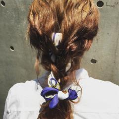 ゆるふわ ヘアアレンジ セミロング 夏 ヘアスタイルや髪型の写真・画像