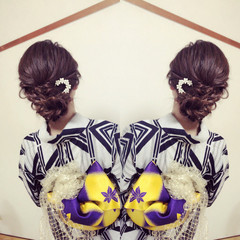 涼しげ デート ロング 結婚式 ヘアスタイルや髪型の写真・画像