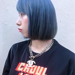 ストリート ボブ ネイビー ブルー ヘアスタイルや髪型の写真・画像