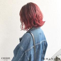 レッド ボブ グラデーションカラー カラーバター ヘアスタイルや髪型の写真・画像