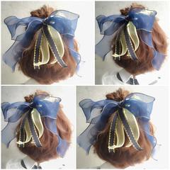 フェミニン 夏 ハーフアップ 簡単ヘアアレンジ ヘアスタイルや髪型の写真・画像
