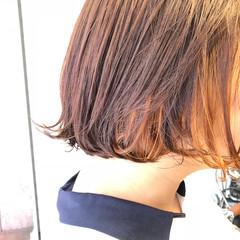 インナーカラーオレンジ オレンジ オレンジカラー ストリート ヘアスタイルや髪型の写真・画像