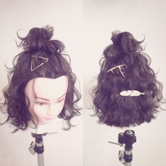 ボブ お団子 ハーフアップ ヘアアレンジ ヘアスタイルや髪型の写真・画像
