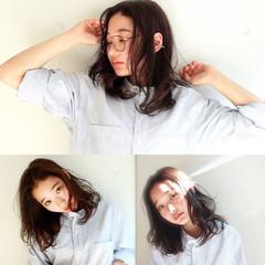 セミロング ブラウン 外国人風 暗髪 ヘアスタイルや髪型の写真・画像