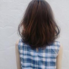 セミロング 大人かわいい 涼しげ ローライト ヘアスタイルや髪型の写真・画像