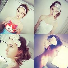 結婚式 外国人風 ヘアアレンジ セミロング ヘアスタイルや髪型の写真・画像