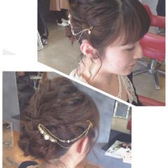ヘアアレンジ ストレート 結婚式 波ウェーブ ヘアスタイルや髪型の写真・画像