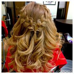 ハイライト 簡単ヘアアレンジ セミロング フェミニン ヘアスタイルや髪型の写真・画像