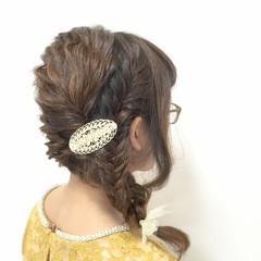 簡単ヘアアレンジ ヘアアレンジ 前髪あり 編み込み ヘアスタイルや髪型の写真・画像