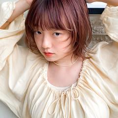 アプリコットオレンジ ボブ ラベンダーピンク レッド ヘアスタイルや髪型の写真・画像