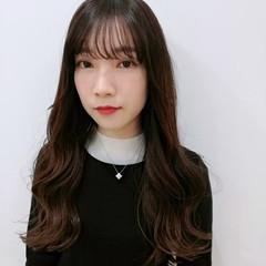 ロング 韓国風ヘアー シースルーバング 大人ヘアスタイル ヘアスタイルや髪型の写真・画像