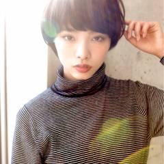 暗髪 モード ショート 黒髪 ヘアスタイルや髪型の写真・画像