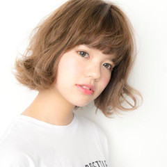 簡単 パーマ キュート ボブ ヘアスタイルや髪型の写真・画像