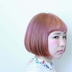 個性的 ワンレングス ピンク グラデーションカラー ヘアスタイルや髪型の写真・画像