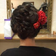 編み込み ヘアアレンジ 成人式 セミロング ヘアスタイルや髪型の写真・画像