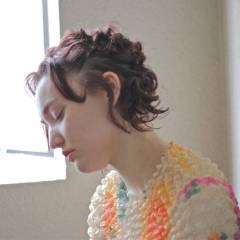 外国人風 ヘアアレンジ ショート マルサラ ヘアスタイルや髪型の写真・画像