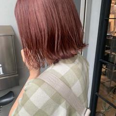 ピンクブラウン 切りっぱなしボブ ナチュラル ボブ ヘアスタイルや髪型の写真・画像