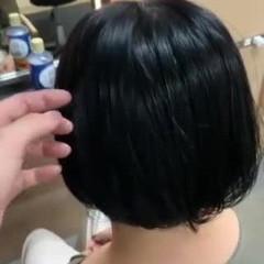 ボブアレンジ ボブ ブラックグレー ブルーブラック ヘアスタイルや髪型の写真・画像