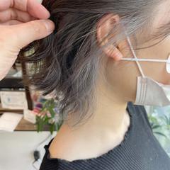 アッシュグレー グレーアッシュ インナーカラー ボブ ヘアスタイルや髪型の写真・画像