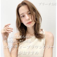 レイヤーカット 鎖骨ミディアム ナチュラル 韓国ヘア ヘアスタイルや髪型の写真・画像