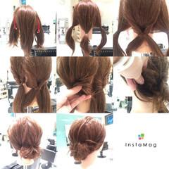 編み込み 簡単ヘアアレンジ ナチュラル ヘアアレンジ ヘアスタイルや髪型の写真・画像