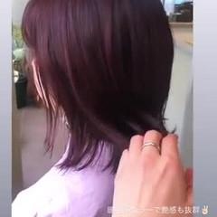 フェミニン ボブ イルミナカラー 切りっぱなしボブ ヘアスタイルや髪型の写真・画像