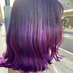 ブリーチ ピンクバイオレット ブリーチカラー デザインカラー ヘアスタイルや髪型の写真・画像