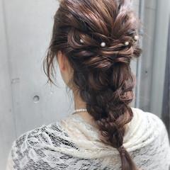 ハーフアップ ナチュラル ロング 編み込み ヘアスタイルや髪型の写真・画像