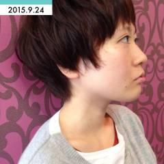 ショート グラデーションカラー ガーリー ヘアスタイルや髪型の写真・画像