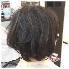 ボブ ナチュラル ハイライト ショート ヘアスタイルや髪型の写真・画像