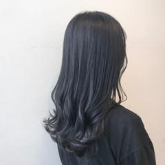 ブルージュ ブルーブラック 透明感カラー ブルーアッシュ ヘアスタイルや髪型の写真・画像