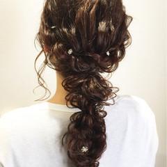 結婚式 編み込み ヘアアレンジ ガーリー ヘアスタイルや髪型の写真・画像