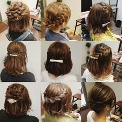 フェミニン 編み込み ボブ ヘアアレンジ ヘアスタイルや髪型の写真・画像