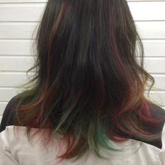グラデーションカラー カラフルカラー セミロング ストリート ヘアスタイルや髪型の写真・画像