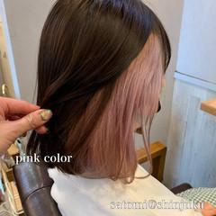 ラベンダーピンク ナチュラル ミディアム 大人かわいい ヘアスタイルや髪型の写真・画像
