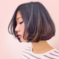 ネイビー インナーカラー グラデーションカラー ボブ ヘアスタイルや髪型の写真・画像