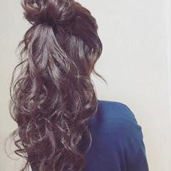 大人女子 大人かわいい ハーフアップ ナチュラル ヘアスタイルや髪型の写真・画像