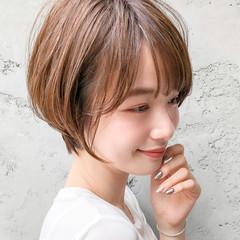 デジタルパーマ ショートボブ ショートヘア ナチュラル ヘアスタイルや髪型の写真・画像