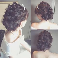 結婚式 セミロング 暗髪 ヘアアレンジ ヘアスタイルや髪型の写真・画像