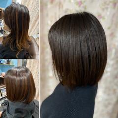 外ハネ 切りっぱなしボブ 髪質改善 ボブ ヘアスタイルや髪型の写真・画像