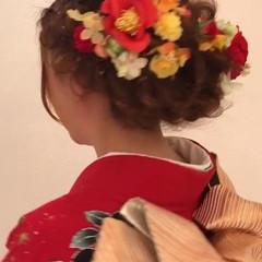 結婚式 成人式 フェミニン セミロング ヘアスタイルや髪型の写真・画像