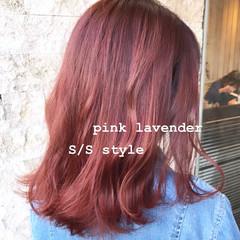 ピンク ガーリー ボブ ベリーピンク ヘアスタイルや髪型の写真・画像