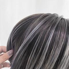 ハイライト ハイトーン 切りっぱなしボブ ナチュラル ヘアスタイルや髪型の写真・画像