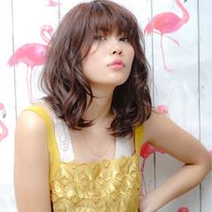 フェミニン 斜め前髪 女子会 ロブ ヘアスタイルや髪型の写真・画像