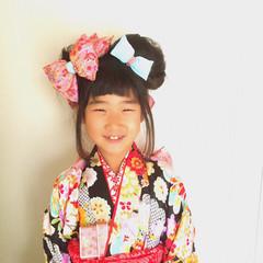 セミロング かわいい ヘアアレンジ 子供 ヘアスタイルや髪型の写真・画像