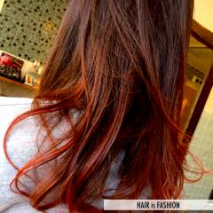 愛され レッド グラデーションカラー モテ髪 ヘアスタイルや髪型の写真・画像