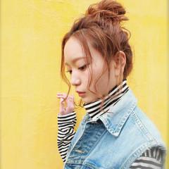 ストリート 簡単ヘアアレンジ お団子 ショート ヘアスタイルや髪型の写真・画像
