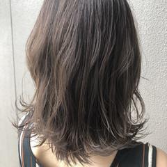 ナチュラル パープル ミディアム 暗髪 ヘアスタイルや髪型の写真・画像